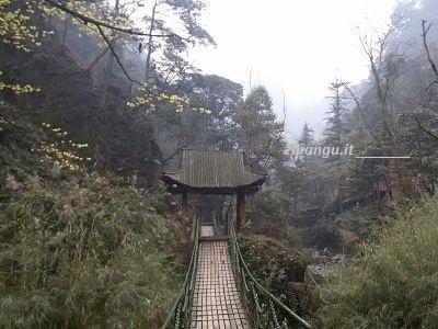 Emeishan, ponte sospeso presso il Tempio Qingyin